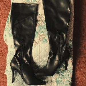 ALDO Black Leather Knee High Heel Boots